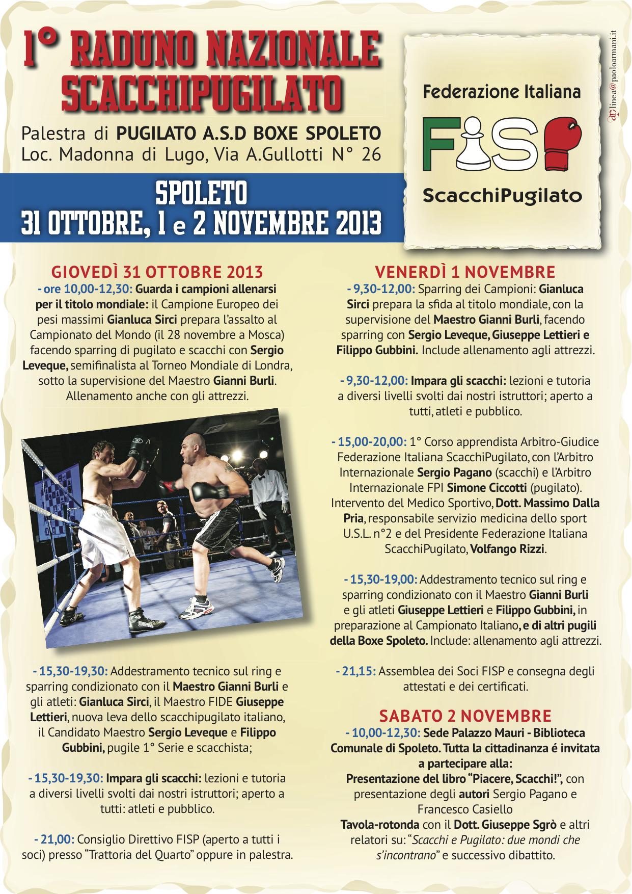 Programma ufficiale del 1º  Raduno FISP a Spoleto dal 31 ottobre al 2 novembre.